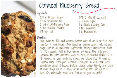 Oatmeal Blueberry Bread Recipe Card | @bigpittstop