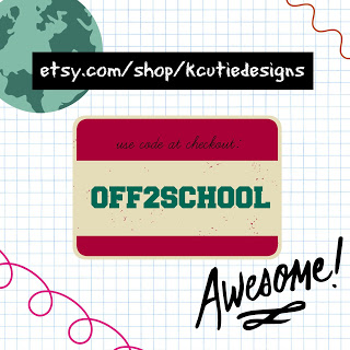 OFF2SCHOOL shopping code for K Cutie Designs Etsy Shop - valid until 8.31.15 @bigpittstop