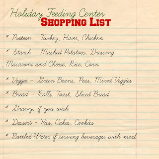Holiday Food Serving Center Shopping List - take care of the homeless and hungry this holiday @bigpittstop