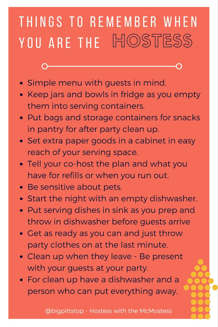 Things to remember to keep yourself the Hostess with the McMostess | bigpittstop.com